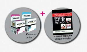 PACK ESSAI KINESIO TAPING : MANUEL CLINIQUE + 1 BANDE NOIR + 1 BANDE ROSE